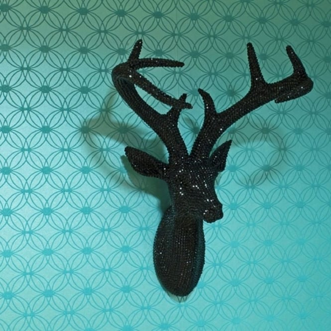 Arthouse Star Studded Stag Head Diamante Deer Mountable Wall Art Black 008195