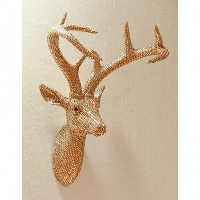 Arthouse Star Studded Stag Head Diamante Deer Mountable Wall Art Champagne 008218