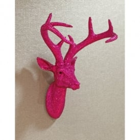 Arthouse Star Studded Stag Head Diamante Deer Mountable Wall Art Hot Pink 008214