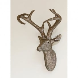 Arthouse Star Studded Stag Head Diamante Deer Mountable Wall Art Pewter 008217