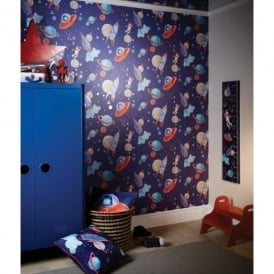 Arthouse Starship Star Pattern Space Man Rocket Glitter Childrens Wallpaper 668000