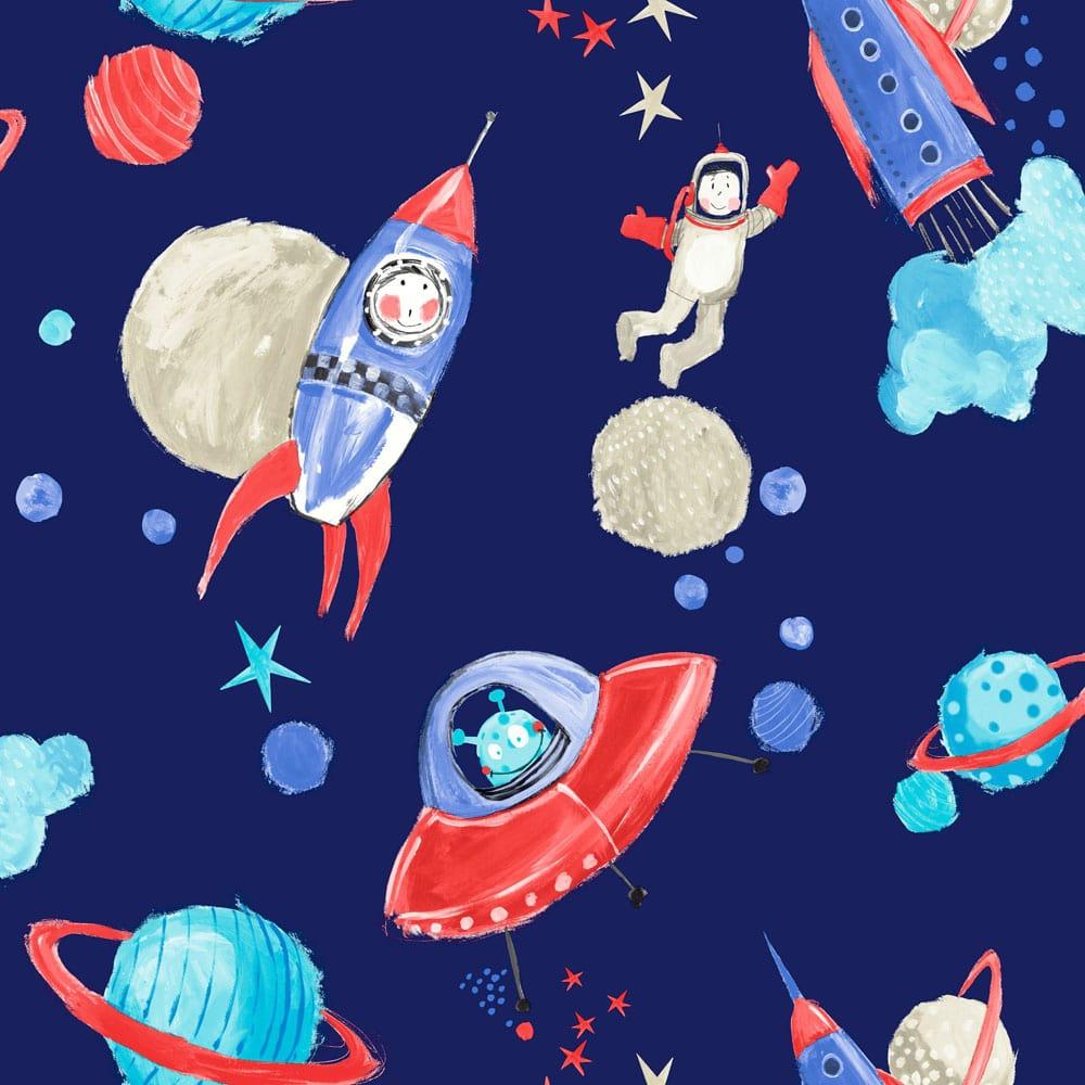 Arthouse Starship Star Pattern Space Man Rocket Glitter Childrens Wallpaper 668000