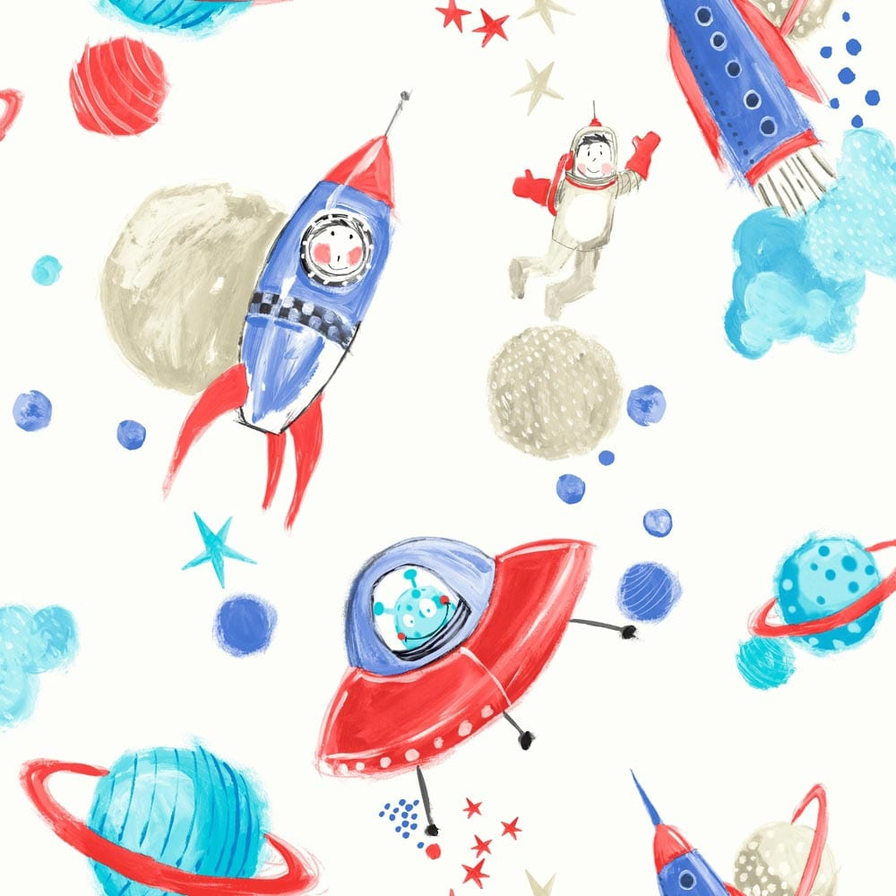 Arthouse starship star pattern space man rocket glitter for Childrens wallpaper