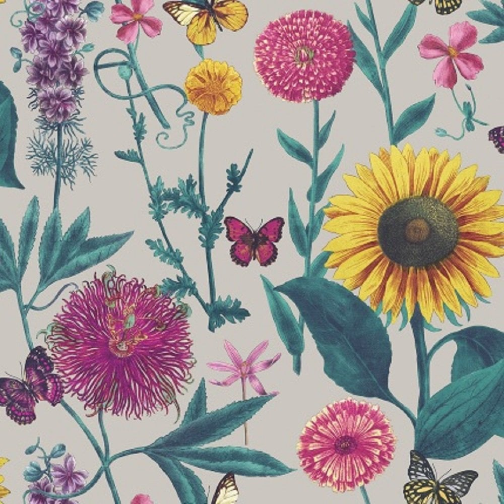 Arthouse Summer Garden Multi Colour Flower Sunflower Butterfly Leaf Motif Wallpaper 676204