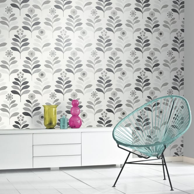 Arthouse Tamara Leaf Pattern Wallpaper Metallic Leaves Floral Motif 693300