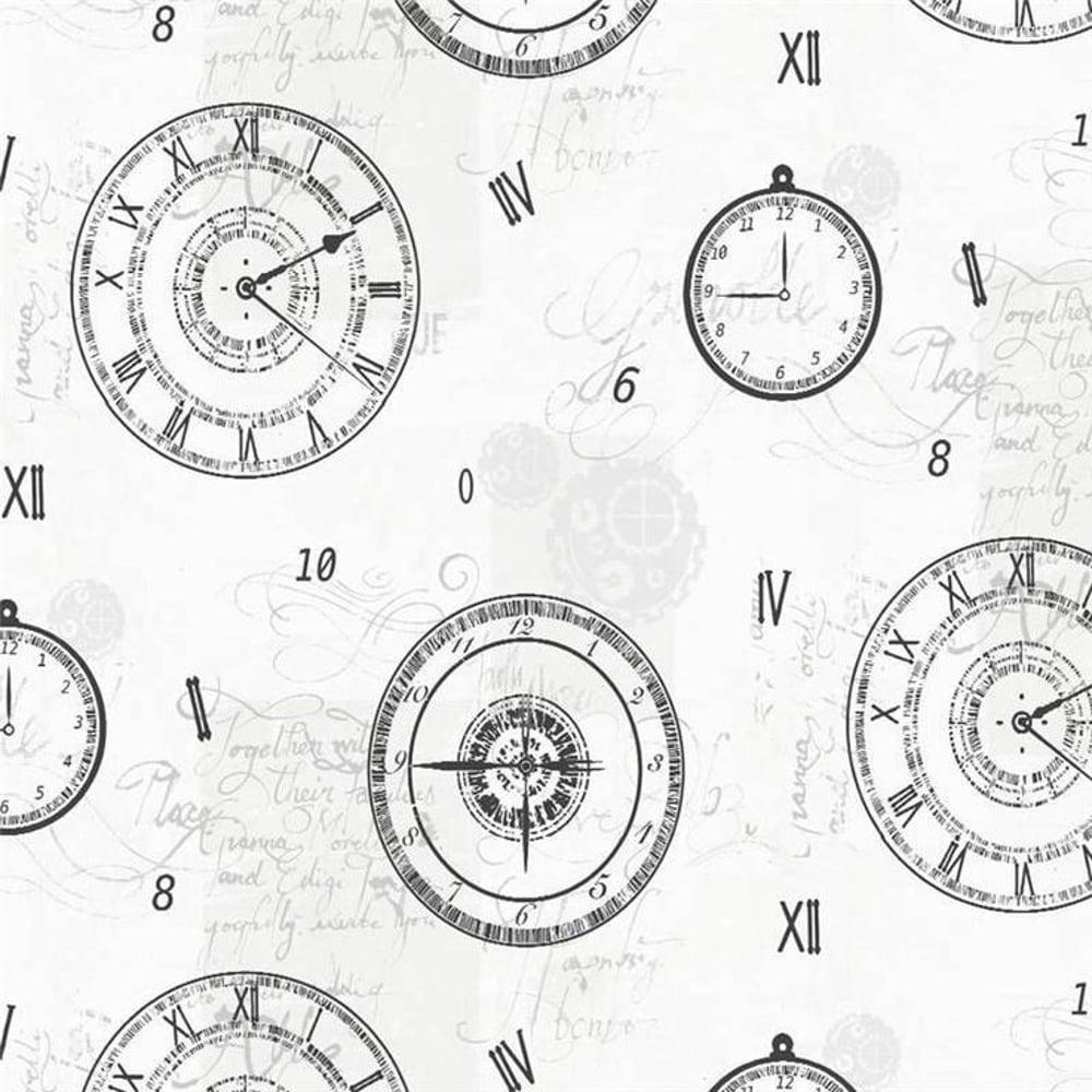 arthouse timeless clock pattern wallpaper metallic silver typography