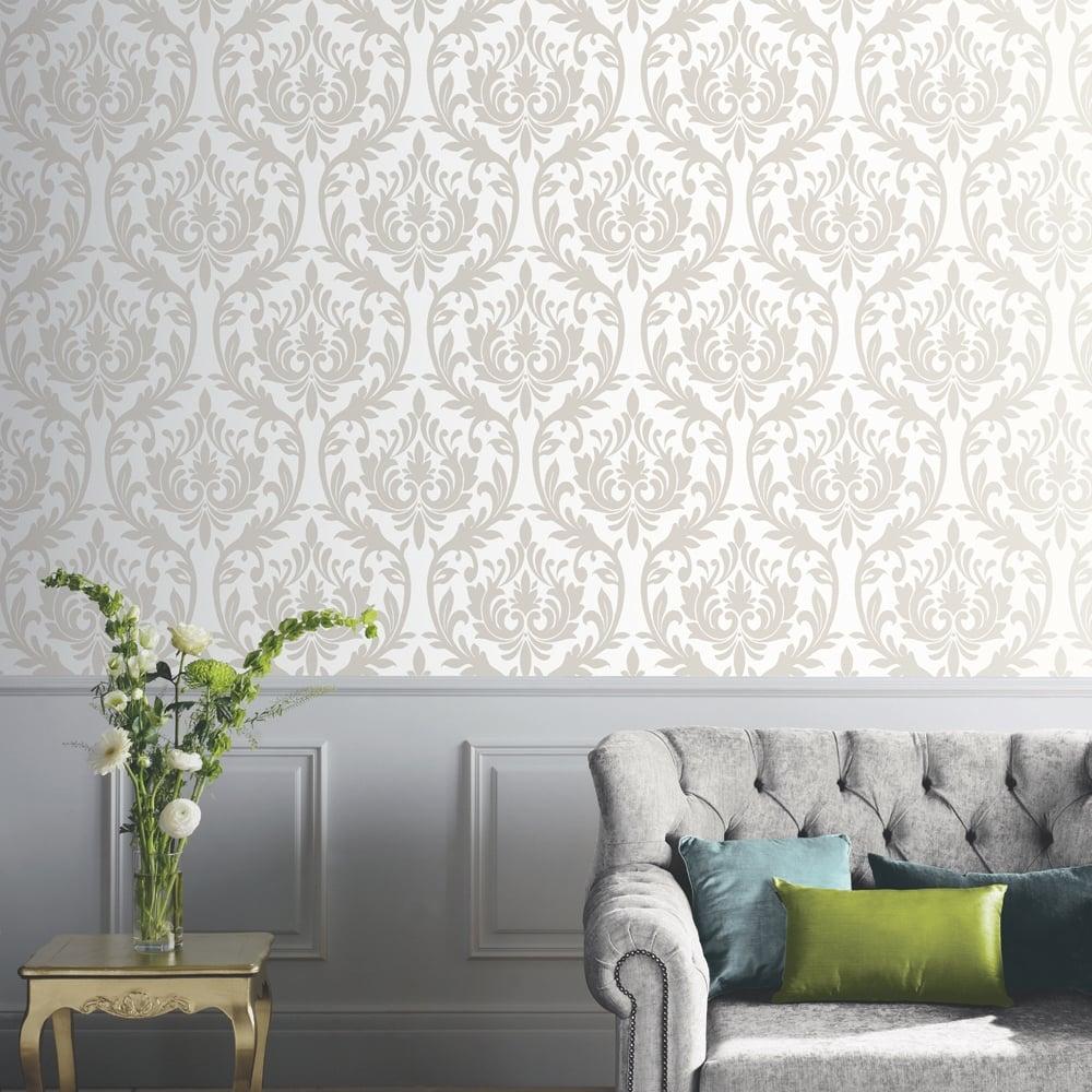 arthouse vintage damask pattern wallpaper modern embossed. Black Bedroom Furniture Sets. Home Design Ideas