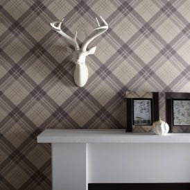 Arthouse Vintage Fairburn Tartan Check Pattern Textured Vinyl Wallpaper 252703