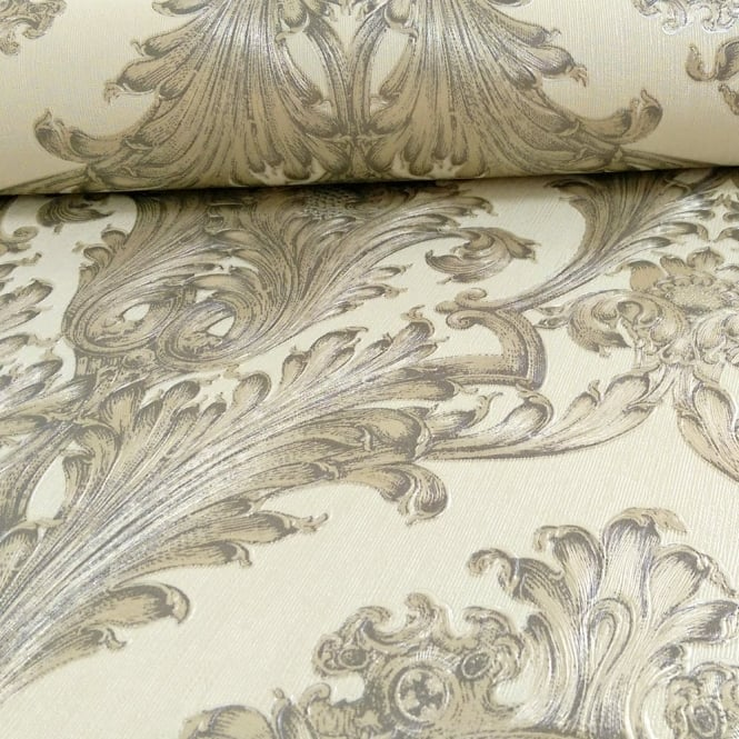 Arthouse Vintage Figaro Italian Damask Pattern Textured Glitter Vinyl Wallpaper 291203