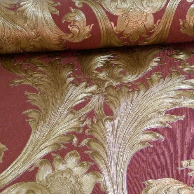 Arthouse Vintage Figaro Italian Damask Pattern Textured Glitter Vinyl Wallpaper 291204
