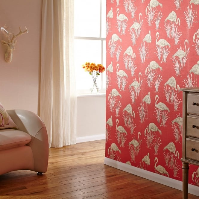 Arthouse Vintage Lagoon Traditional Oriental Flamingo Textured Wallpaper 252601