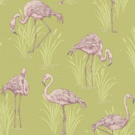 Arthouse Vintage Lagoon Traditional Oriental Flamingo Textured Wallpaper 252602