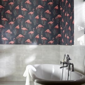 Arthouse Vintage Lagoon Traditional Oriental Flamingo Textured Wallpaper 252603