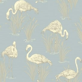 Arthouse Vintage Lagoon Traditional Oriental Flamingo Textured Wallpaper 252605