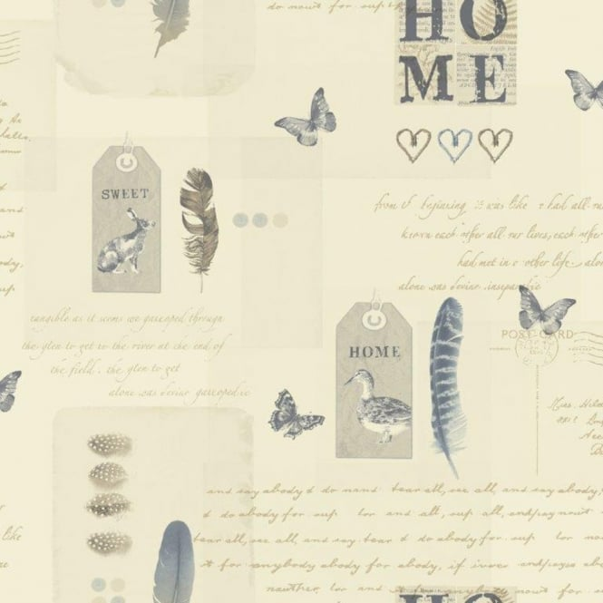 Arthouse Vintage Lomond Bird Butterfly Home Typography Motif Wallpaper 256200
