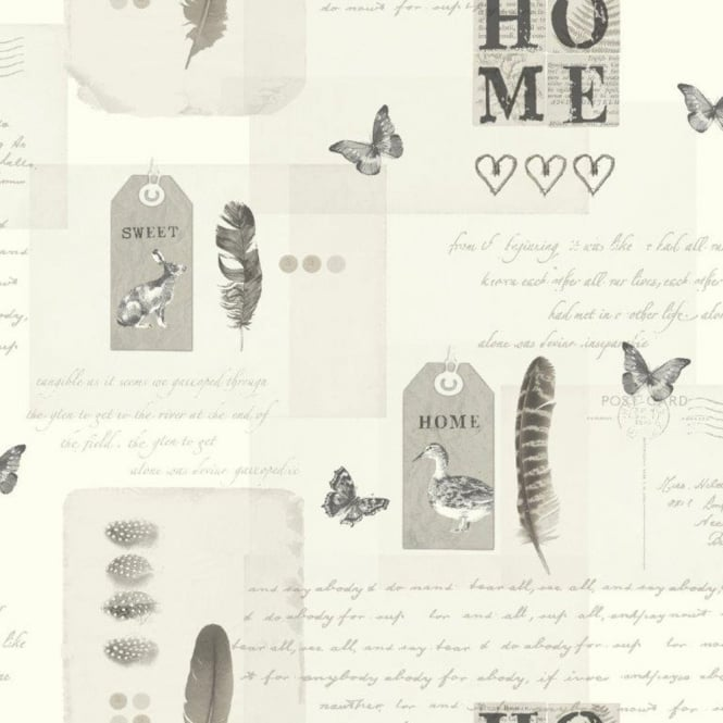 Arthouse Vintage Lomond Bird Butterfly Home Typography Motif Wallpaper 256201