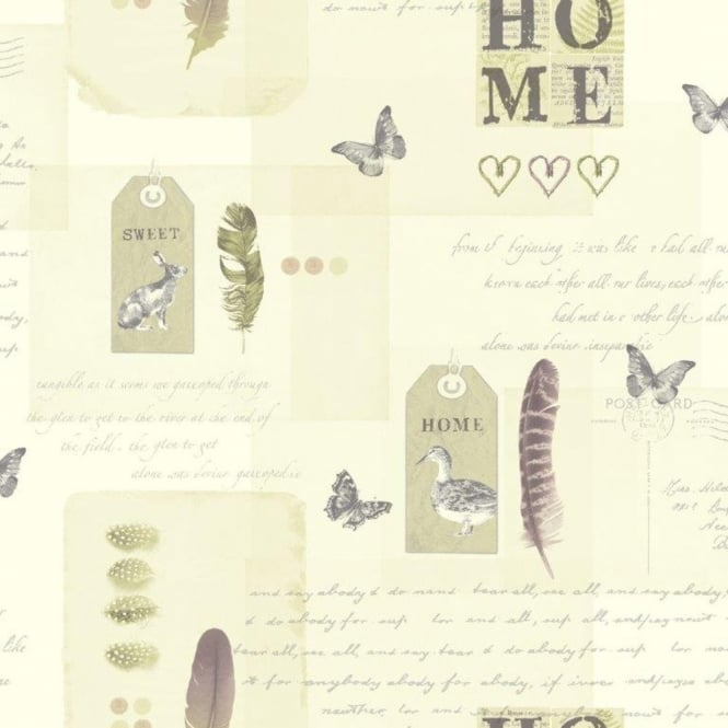 Arthouse Vintage Lomond Bird Butterfly Home Typography Motif Wallpaper 256202