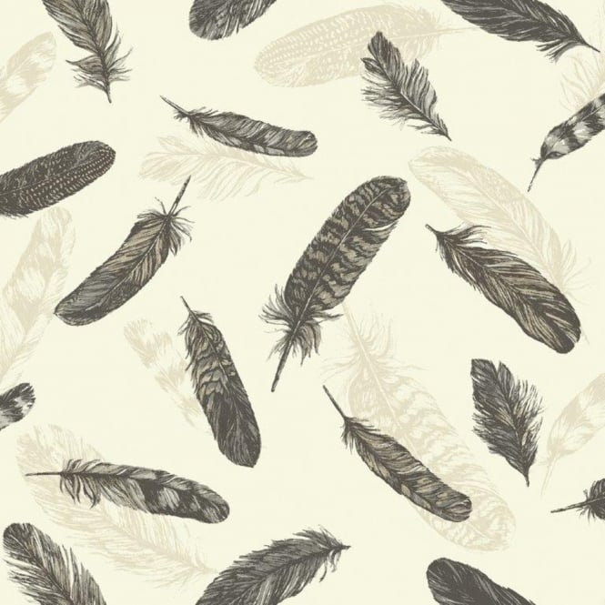 Arthouse Vintage Plume Bird Feather Pattern Motif Textured Vinyl Wallpaper 252800