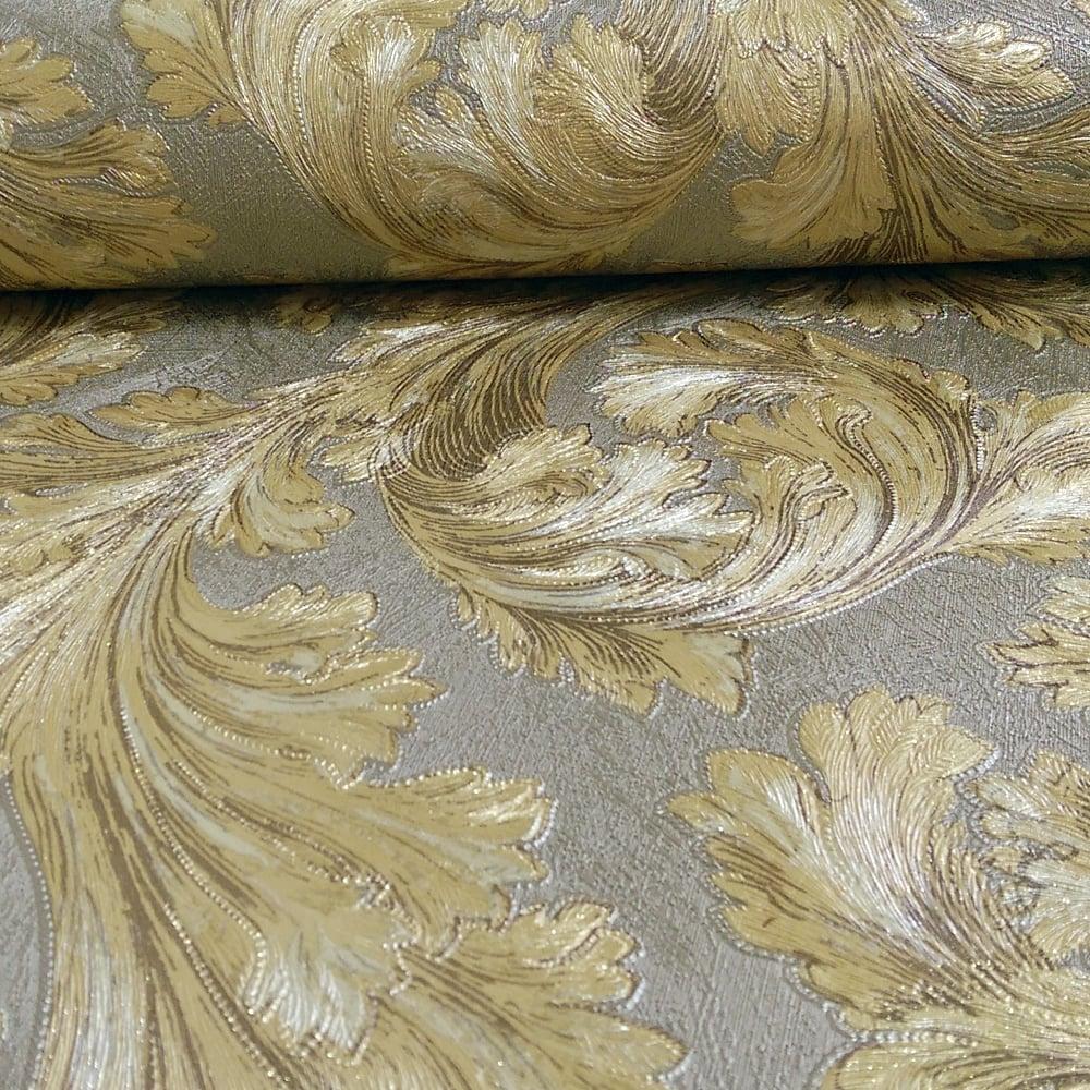 arthouse safina feather pattern leaf metallic vinyl. Black Bedroom Furniture Sets. Home Design Ideas