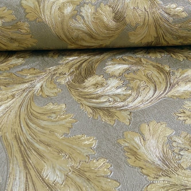 Arthouse Vintage Safina Feather Pattern Leaf Glitter Metallic Vinyl Wallpaper 291303