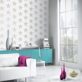 Arthouse Vintage Star Pattern Wallpaper Embossed Metallic Glitter Motif 891300