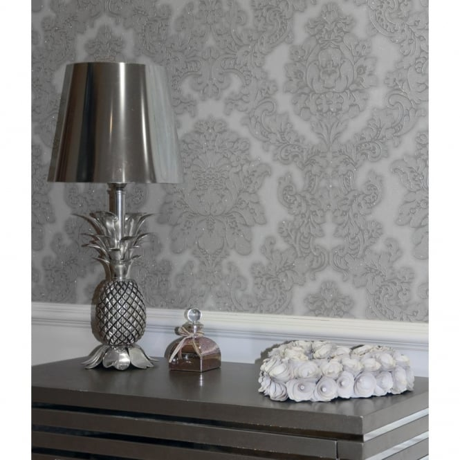 Arthouse Vintage Vicenza Damask Floral Glitter Textured Vinyl Wallpaper 270401