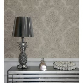Arthouse Vintage Vicenza Damask Floral Glitter Textured Vinyl Wallpaper 270402