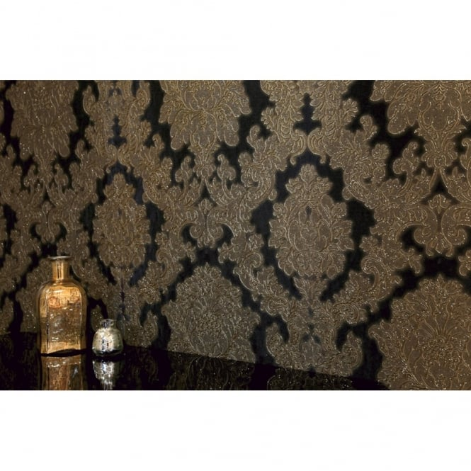 Arthouse Vintage Vicenza Damask Floral Glitter Textured Vinyl Wallpaper 270405