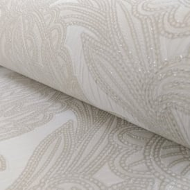 Arthouse Vintage Viola Floral Leaf Pattern Damask Motif Glitter Vinyl Wallpaper 290603