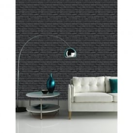 Arthouse VIP Black Brick Wall Pattern Faux Stone Effect Motif Mural Wallpaper 623007
