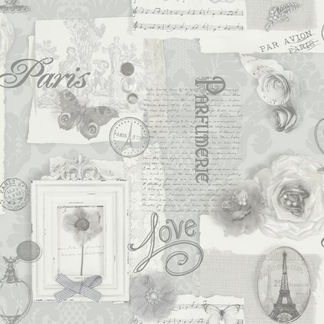 Arthouse VIP Felicity Floral Pattern Paris Silver Butterfly Motif Wallpaper 665401