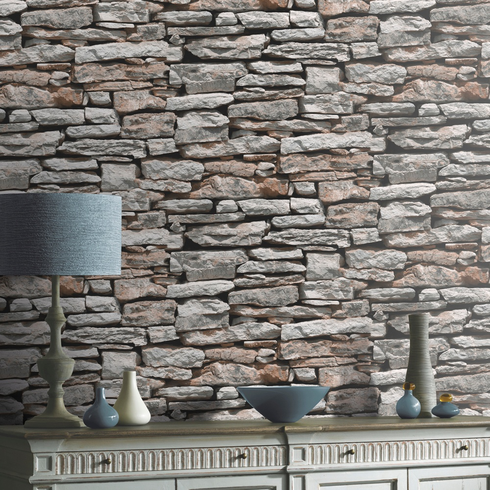 Arthouse vip moroccan stone wall brick effect photographic for Black 3d brick wallpaper