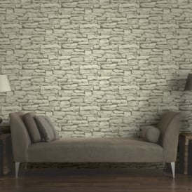 Arthouse VIP Moroccan Stone Wall Brick Effect Photographic Wallpaper 623008