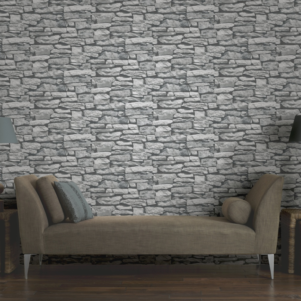 Arthouse vip moroccan stone wall grey brick effect for Wall to wall wallpaper