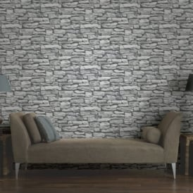 Arthouse VIP Moroccan Stone Wall Grey Brick Effect Photographic Wallpaper 623009