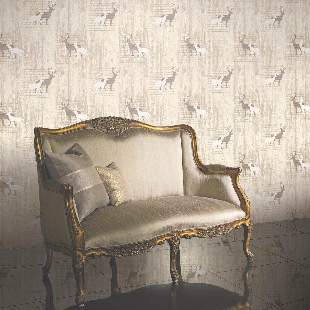 Arthouse VIP Stag Deer Animal Print Wood Cabin Cream Vinyl Wallpaper 623001