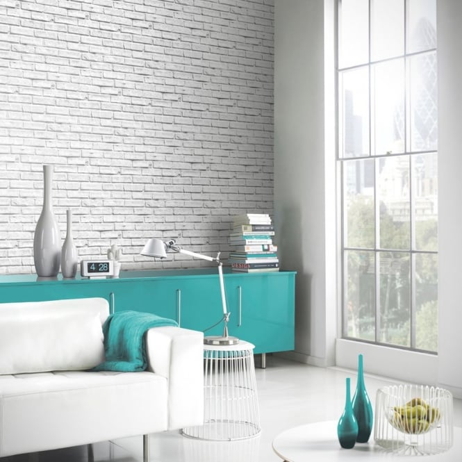 Arthouse VIP White Brick Wall Photographic Stone Effect Wallpaper 623004