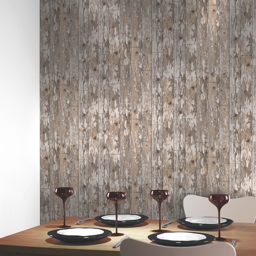 Arthouse vip wood cabin distressed wooden effect brown - Art house wallpaper uk ...