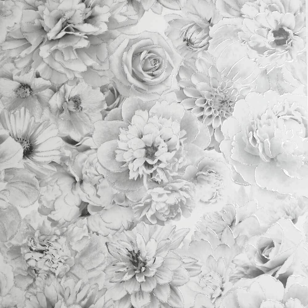 Arthouse Wallpaper Glitter Bloom Floral Flowers Roses Silver Grey White 692803