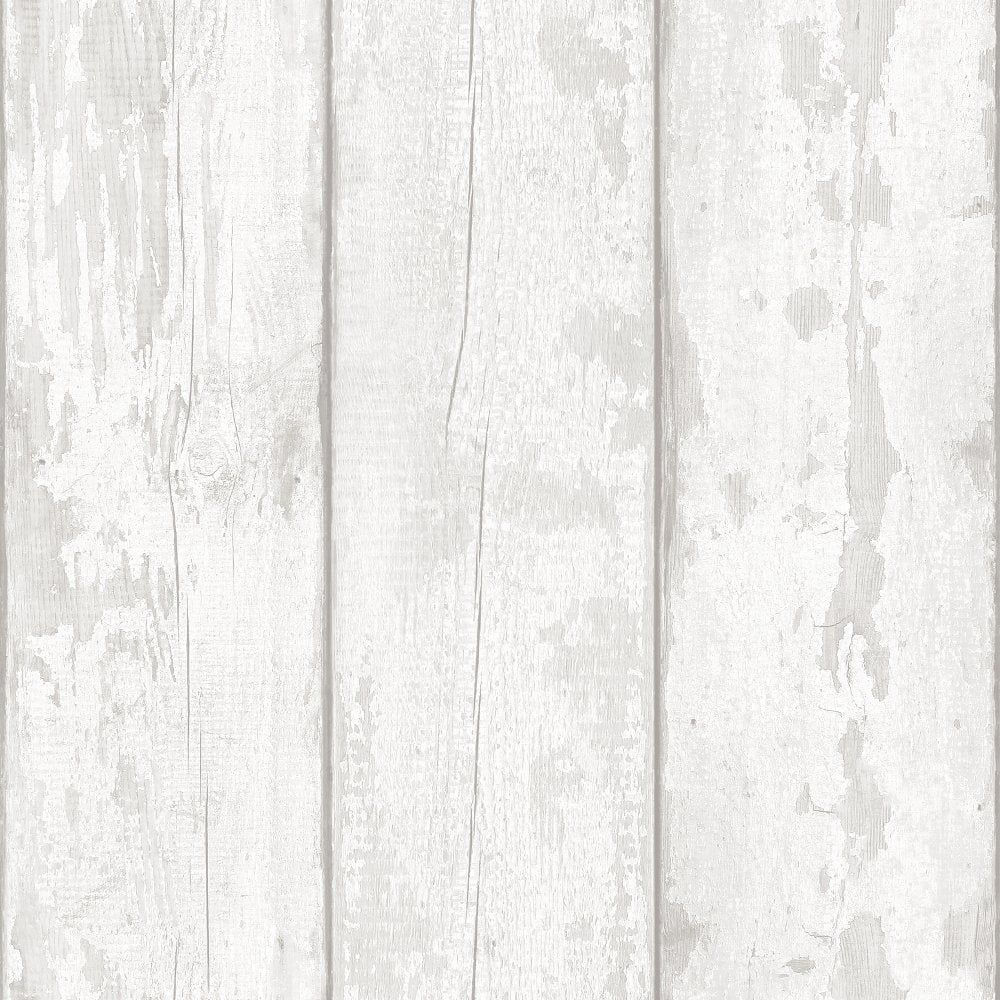 Arthouse White Washed Wood Panel Pattern Wallpaper Faux