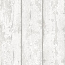 Arthouse White Washed Wood Panel Pattern Wallpaper Faux Effect Distressed Beam 694701
