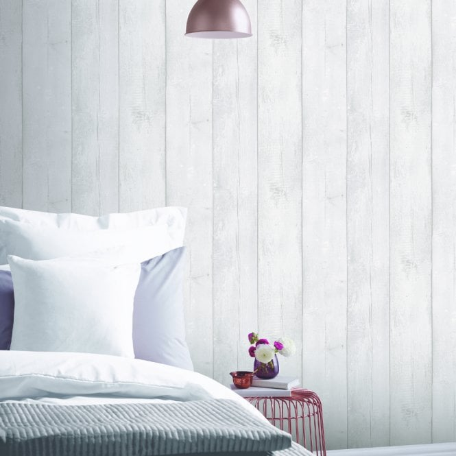 Arthouse Arthouse White Washed Wood Panel Pattern Wallpaper Faux Effect  Distressed Beam 694701