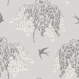 Arthouse Willow Song Tree Leaf Pattern Bird Motif Glitter Wallpaper 664700