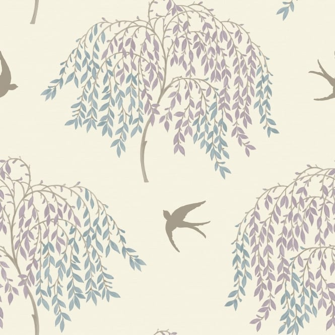 Arthouse Willow Song Tree Leaf Pattern Bird Motif Glitter Wallpaper 664701