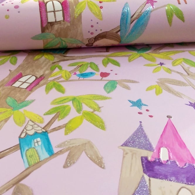 Arthouse Woodland Fairies Tree Fairy Bear Glitter Childrens Wallpaper 667000