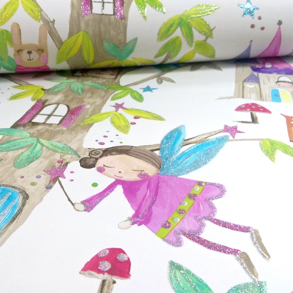 Arthouse Woodland Fairies Tree Fairy Bear Glitter Childrens Wallpaper 667001