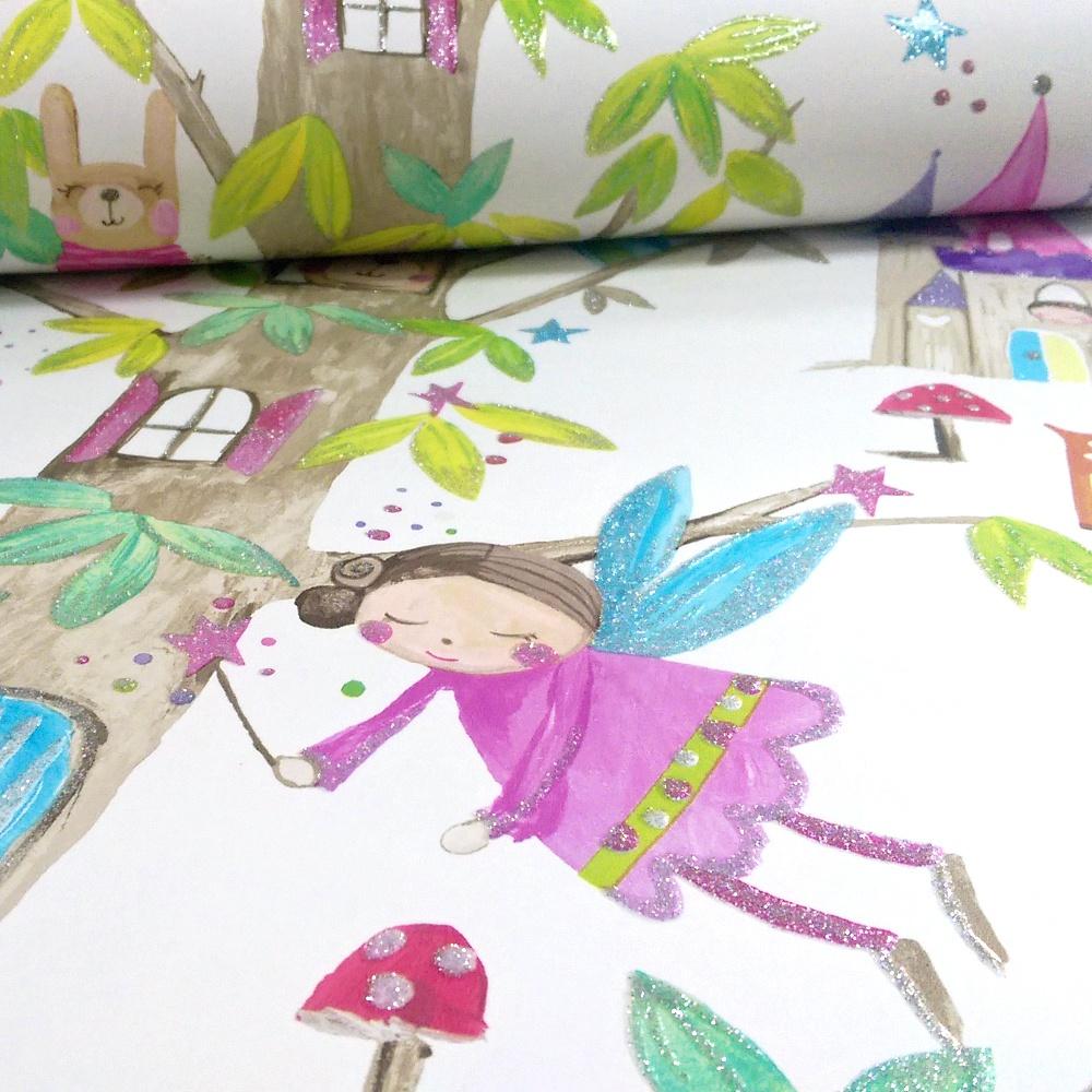 Arthouse Woodland Fairies Tree Fairy Bear Glitter Childrens Wallpaper 667001 White I Want Wallpaper