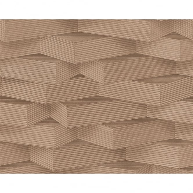 A.S. Creation AS Creation 3D Effect Wood Block Pattern Stripe Motif Non Woven Wallpaper 960001