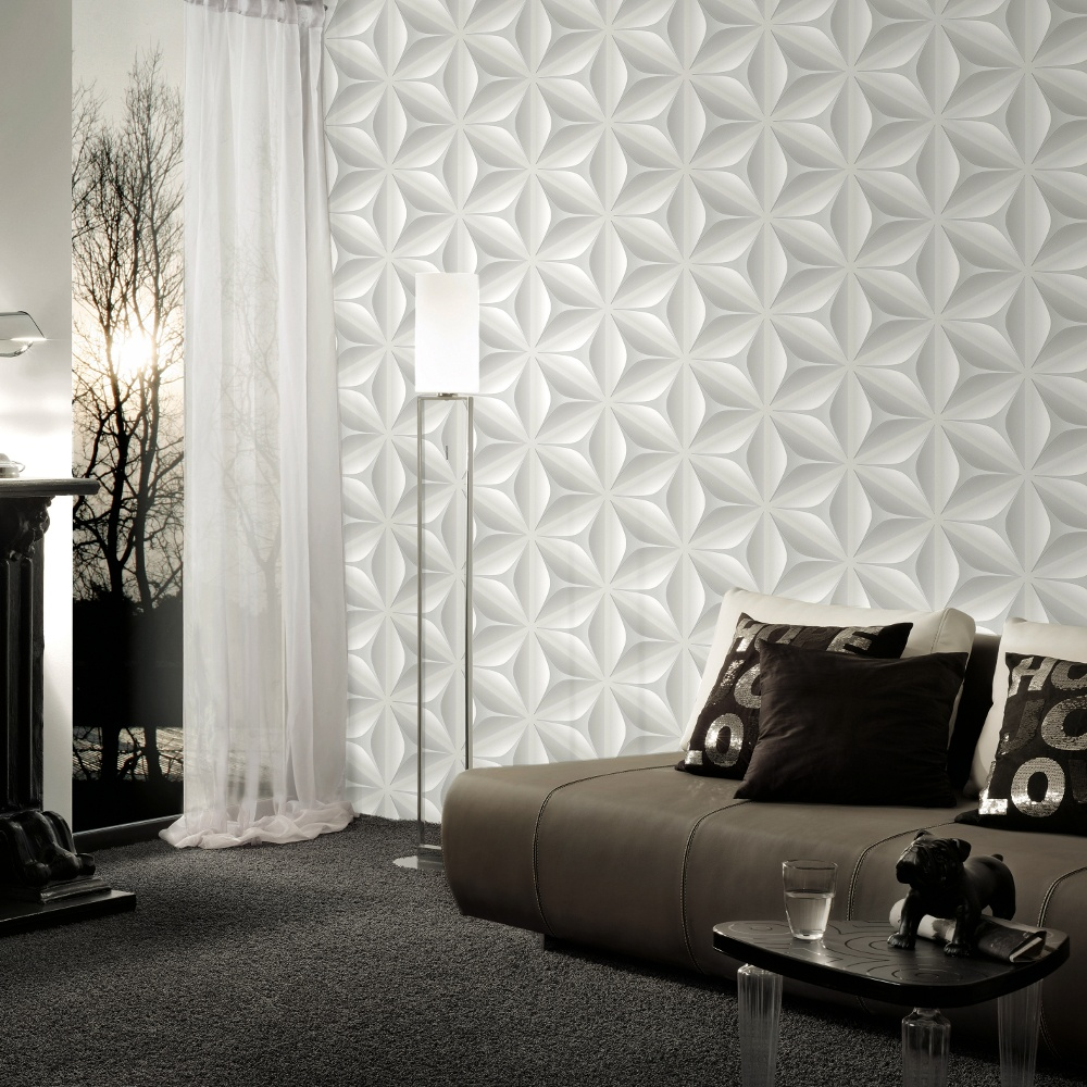 AS Creation Abstract Star Leaf Pattern Embossed 3D Wallpaper 960421