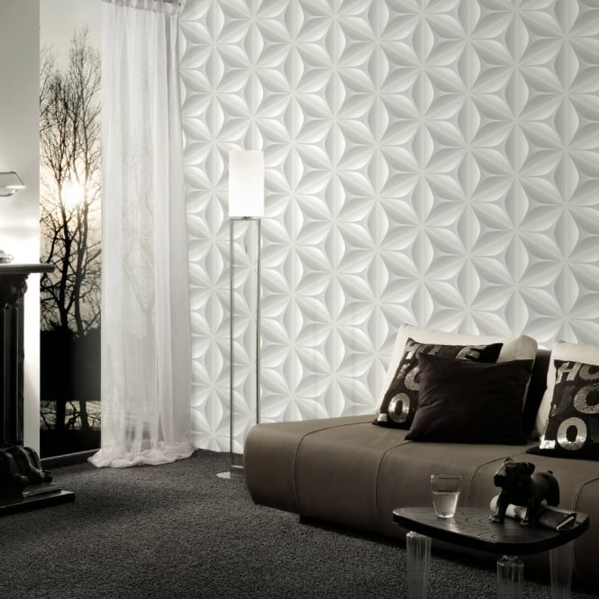 A.S. Creation AS Creation Abstract Star Leaf Pattern Embossed Non Woven 3D Effect Wallpaper 960421